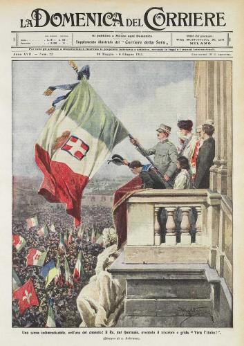 30 maggio 1915. Il re sventola il tricolore dal Quirinale (Archivio RCS/Fondazione Corriere della Sera)