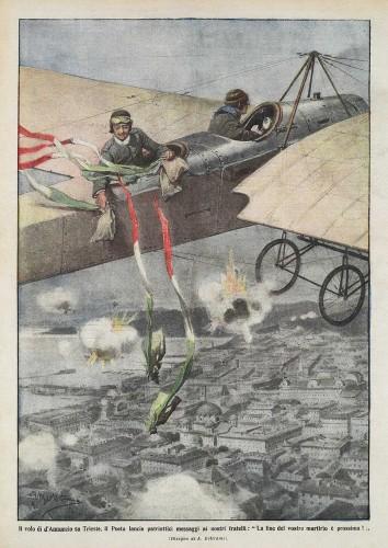 Domenica del Corriere del 22 agosto 1915. D'Annunzio lancia messaggi patriottici su Trieste  (Archivio RCS/Fondazione Corriere della Sera)
