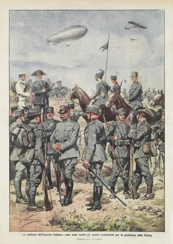 Domenica del Corriere del 30 maggio 1915. Le divise del regio esercito (Archivio RCS/Fondazione Corriere della Sera)