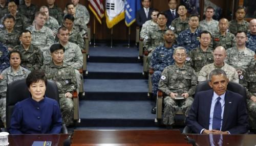 Park Geun-hye, la presidente della Corea del Sud, con il presidente degli Stati Uniti Barack Obama