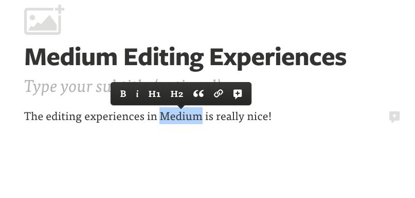 L'editor di scrittura di Medium