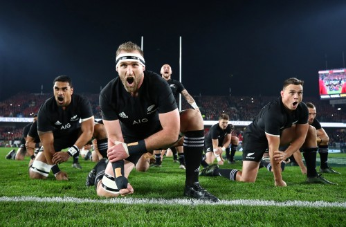 Rugby Union - New Zealand All Blacks v British and Irish Lions - Lions Tour - Eden Park, Auckland, New Zealand - July 8, 2017 - The New Zealand All Blacks perform the haka. REUTERS/Hannah Peters/Pool