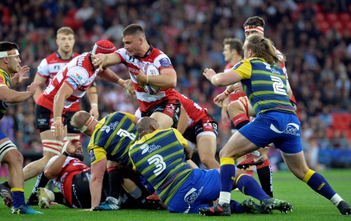 Rugby Union - European Challenge Cup Final - Cardiff Blues v Gloucester Rugby - San Mames, Bilbao, Spain - May 11, 2018 Gloucester Rugby's Jake Polledri in action REUTERS/Vincent West