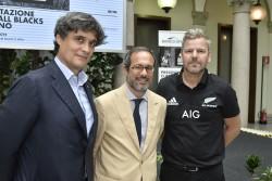 Presentazione All Blacks Clinic a Milano. Nella foto: Stefano Baia Curioni, Umberto Ambrosoli, Yarnie Guthrie (Fotogramma)