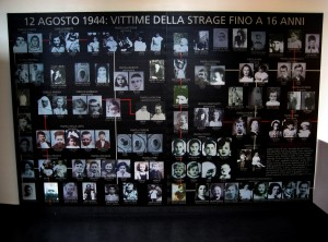 Le foto dei bambini, il piu' grande aveva 16 anni, uccisi nella strage. Il pannello si trova al primo piano del Museo della Resistenza di Sant'Anna di Stazzema. Niente processo per insufficienza di prove per otto ex gerarchi delle SS sospettati di aver preso parte al massacro di S.Anna di Stazzema, dove vennero uccise durante la seconda guerra mondiale 560 persone. Lo ha deciso la magistratura tedesca, al termine di un'inchiesta durata 10 anni. ANSA/UFFICIO STAMPA MUSEO DI STAZZEMA +++ NO SALES +++ EDITORIAL USE ONLY +++