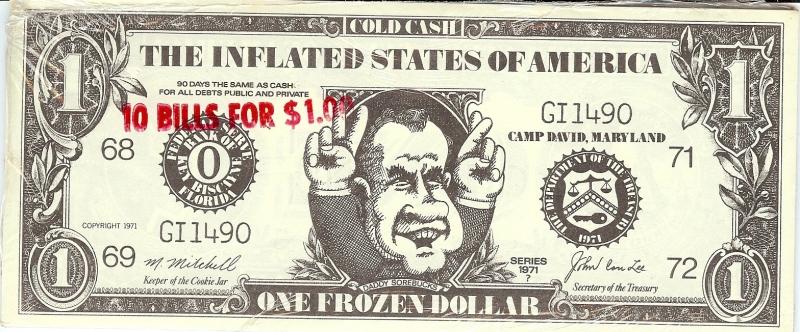 Una banconota satirica con l'immagine di Richard Nixon (dal sito Political Parade)