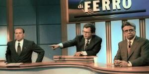 Silvo Berlusconi e Achille Occhetto nel dibatito tv moderato da Enrico Mentana