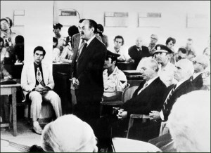 IMF03 - 19750801 - ATHENS, GREECE : (FILES) Former Greece Prime Minister Georgios Papadopoulos (standing) and the members of his military junta (from left) Nikolaos Makarescos and Slylianos Pattakos, face the court in August 1975 in Athens during the trial of the putschists involved in the 1974 military coup. Colonel Papadopoulos, who led a military coup against the government 21 April 1967 was arrested in October 1974 and sentenced to death for high treason. The sentence was commuted to life imprisonment. Former dictator died 27 June 1999 in an Athens hospital at the age of 80. EPA PHOTO AFP FILES/-/vn/rc