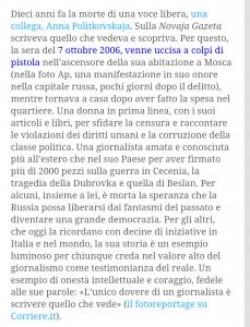 Il ricordo nella Bussola di Corriere.it