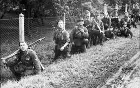Soldati tedeschi in Normandia: occhi al cielo per individuare gli aerei alleati
