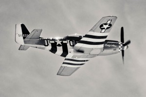 Caccia Mustang P-51 con le Invasion stripes (o Normany stripes)