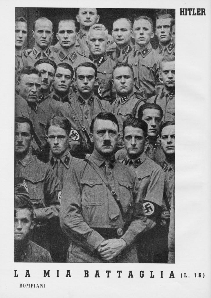 """locandina pubblicitaria del 1938 al libro """" Mein Kampf"""" di Adolf Hitler tradotto in italiano """"La mia battaglia"""" edizione Bompiani"""