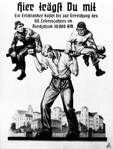 Un manifesto del 1936: Il tedesco ariano sopporta il peso ei disabili e degli inferiori
