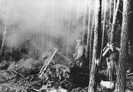 Artiglieria tedesca in azione nella foresta di Hürtgen