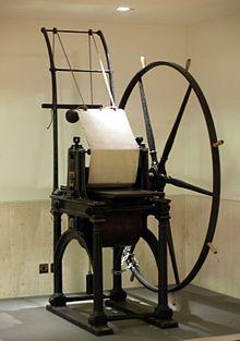 La macchina di stampa di Jacob Perkins, la tipografia che stampò il Penny Black ed il 2 pence blu, nella British Library Philatelic Collections.