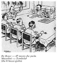 """Vignetta sul delitto Matteotti nella rivista satirica antifascista """"Becco Giallo"""", 1925"""