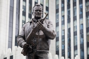A new monument to Russian firearm designer Mikhail Kalashnikov is unveiled during an official ceremony in Moscow, Russia, Tuesday, Sept. 19, 2017. Kalashnikov, who died in 2013 at age 94 in the city of Izhevsk, has received accolades as the creator of the AK-47 assault rifle. By some estimates, the AK-47 and its versions account for about one-fifth of the world?s firearms. (AP Photo/Pavel Golovkin)