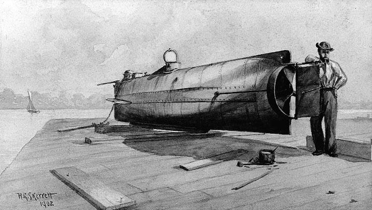 La CSS Hunley in un disegno di R. G. Skerrett del 1902 (da Wikipedia)