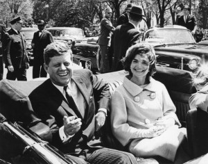 Former United States President John F. Kennedy and first lady Jackie Kennedy sit in a car in front of Blair House during the arrival ceremonies for Habib Bourguiba, president of Tunisia, in Washington, in this handout image taken on May 3, 1961. November 22, 2013 will mark the 50th anniversary of the assassination of President Kennedy. REUTERS/Abbie Rowe/The White House/John F. Kennedy Presidential Library (UNITED STATES - Tags: POLITICS ANNIVERSARY) ATTENTION EDITORS - THIS IMAGE WAS PROVIDED BY A THIRD PARTY. FOR EDITORIAL USE ONLY. NOT FOR SALE FOR MARKETING OR ADVERTISING CAMPAIGNS. THIS PICTURE IS DISTRIBUTED EXACTLY AS RECEIVED BY REUTERS, AS A SERVICE TO CLIENTS