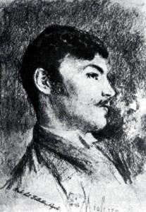 Salvatore di Giacomo in un disegno di Vincenzo Migliaro (Wikimedia)