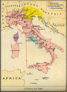 La cartina dell'Italia nel 1861