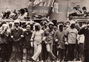 Una manifestazione del Movimento del '77 aRoma.