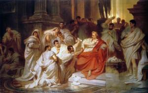 L'uccisione di Giulio Cesare in un dipinto ottocentesco (da Wikipedia)