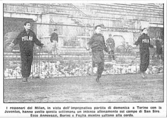 """Allenamenti pre-partita del Milan (dal """"Corriere della Sera"""" del 3 febbraio 1950)"""