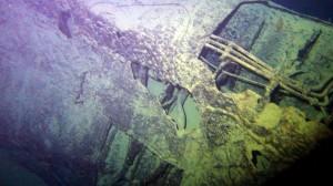 Un frame tratto da un video della Marina Militare sul ritrovamento del relitto del sommergibile Guglielmotti. La scoperta è avvenuta durante un'esercitazione dei cacciamine della Marina militare, presso l'isola di Capraia, a 400 metri di profondità. A bordo del sommergibile, affondato il 20 marzo 1917, c'erano 14 membri dell'equipaggio. ANSA/MARINA MILITARE ++ NO SALES, EDITORIAL USE ONLY ++