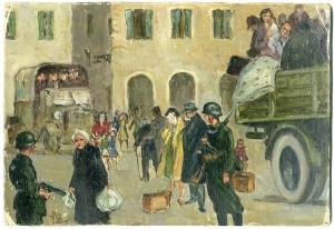 Aldo Gay (Roma, 1914-2004), Senza titolo / Il rastrellamento del Ghetto di Roma (1943, olio su tela)