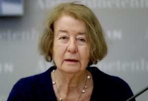 Hilde Schramm attends a press conference in Berlin, Germany, Monday, Jan. 21, 2019. Schramm, daughter of Hitler's architect Albert Speer, receives the Jewish history award for a foundation she founded to support Jewish women's cultural projects. (AP Photo/Michael Sohn)