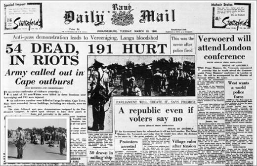 La notizia del massacro di Sharpeville sul Daily Mail. I morti furono in realtà 69 (da Wikipedia)