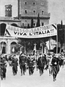 Manifestazione a Roma contro le sanzioni imposte dalla SdN (Wikipedia)