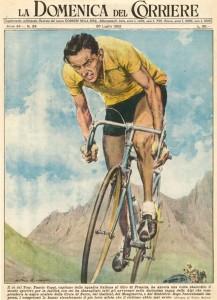 Fausto Coppi al giro di Francia - disegno di W. Molino Domenica del Corriere Anno 54 - n. 29 - del 20 luglio 1952.