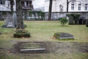 The grave of Reinhard Heydrich, powerful head of Hitler's Reich Security Office during the World War II, is pictured in Berlin on December 16, 2019. - The grave of a top Nazi who helped plan the Holocaust and was assassinated by British-trained agents during World War II has been dug up in the night on December 12, 2019 in Berlin, German police said on December 16, 2019. (Photo by Odd ANDERSEN / AFP)