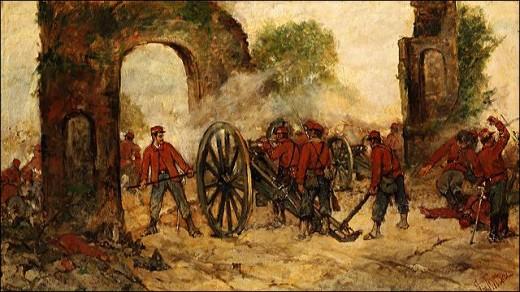Un momento della battaglia del Volturno in un quadro di Giovanni Fattori