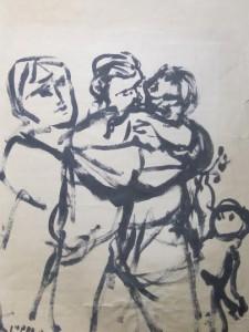 """La scansione del disegno originale di Pippo Pozzi, """"Partigiani"""" (1944) dalla collezione di Mario De Micheli"""