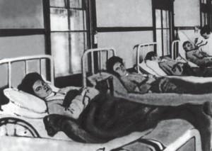 Mary Mallon nel suo letto d'ospedale (Immagine tratta da Annali di Gastroenterologia)