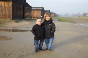 Warwick and his wife Sam at Auschwitz