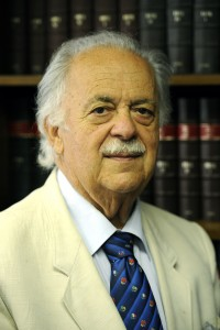 (FILES) -- A file photo taken on January 26, 2010 shows human rights advocate George Bizos posing in his office in Johannesburg. Nelson Mandela's children have asked a court to remove their father's friend and lawyer George Bizos from the boards of two Mandela-related investment funds, local dailies said on April 10, 2013. AFP PHOTO / STEPHANE DE SAKUTIN
