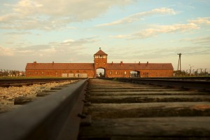 Entrance of the Nazi Auschwitz-Birkenau concentration camp.