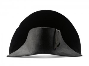 epa09451078 An undated handout photo made available by Bonhams shows a bicorne winter campaign hat that belonged to late French Emperor Napoleon Bonaparte ahead of an auction at Bonhams in Hong Kong, China (issued 06 September 2021). The hat and other items are on public display in Hong Kong's gallery of Bonham auction house from 6 to 10 September 2021. EPA/BONHAMS HANDOUT HANDOUT EDITORIAL USE ONLY/NO SALES
