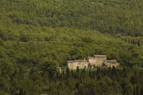La casa-cantina della Tenuta di Trinoro