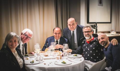Da sinistra: Antonio e Nadia Santini, Bruno Vespa, Pipero, Massimo Bottura e Niko Romito