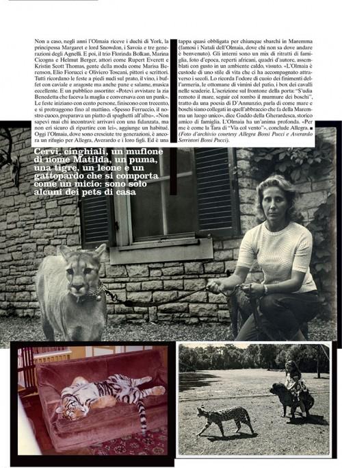 Una pagina della rivista Vogue con un articolo di Alessandra Signorelli su villa Olmaia della famiglia Bossi-Pucci, proprietaria di cava Cariola: in giardino un puma, a casa una tigre