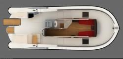 La disposizione degli interni del catamarano Agile
