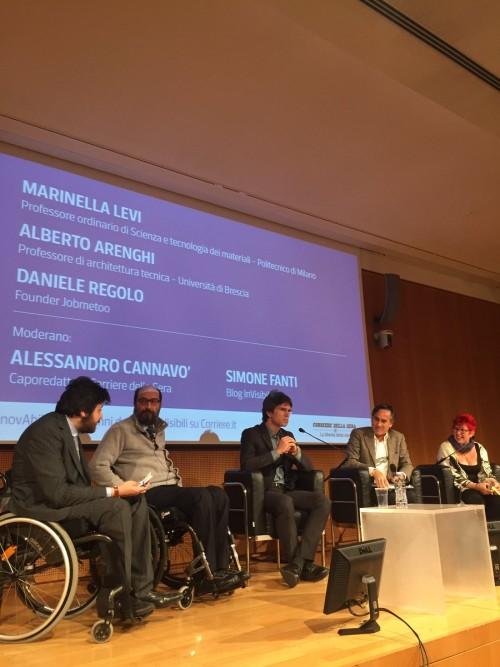 Simone Fanti, Alberto Arenghi, Daniele Regolo, Alessandro Cannavò, Marinella Levi a InnovAbili