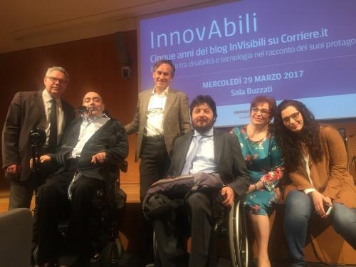 Gli InVisibili a InnovAbili: Claudio Arrigoni, Antonio Malafarina, Alessandro Cannavò, Simone Fanti, Simonetta Morelli, Giulia Polito