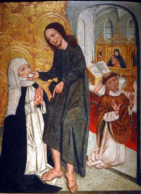La comunione miracolosa di Santa Caterina, anonimo di Cracovia, inizio XVI sec.jpg.jpg