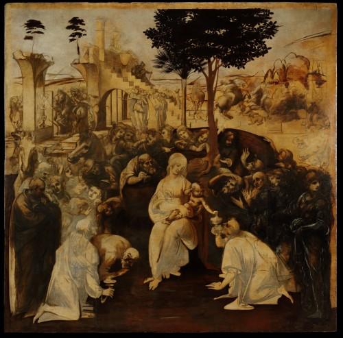 Adorazione-dei-Magi-di-Leonardo-Dipinto-intero-dopo-il-restauro-a-luce-diffusa